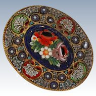 Antique Detailed Floral Micro mosaic Brooch Pin c1900
