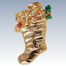 Enameled Christmas Stocking Stuffed W/Toys Brooch Pin c1970s