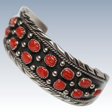 Navajo Signed Coral Sterling Silver Cuff Bracelet c1970