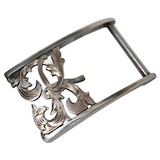 Signed Sterling Silver Engraved Buckle c1920s
