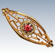 Arts & Craft 10k Gold Ruby Glass Brooch Pin c1890
