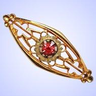 Arts & Craft 10k Gold Ruby Glass Brooch Pin c1890