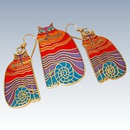 "Suite MINT Laurel Burch ""Rainbow Cat""  Cloisonne 22K Gold Plate 12k Gold Filled French Wire Earring Brooch Pin c1983"