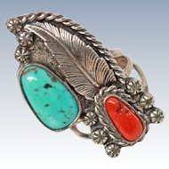 HUGE Navajo Turquoise Coral Sterling Silver Size Ring Signed c1940s