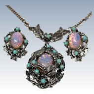Victorian Revival Necklace Earrings Faux Turquoise Opal Silver Tone c1940s