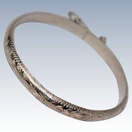 Engraved Sterling Silver Floral Motif Hinged Bracelet c1970s