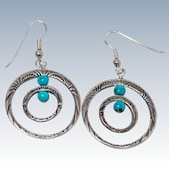 Native American Turquoise Sterling Silver French Wire Earrings c1980s