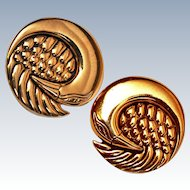 RARE Laurel Burch Mynah Bird 22K Gold Plate Clip Earrings c1978