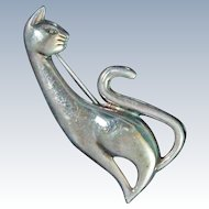Mid Century Modern Silhouette  Cat Brooch Pin Signed Sterling Silver