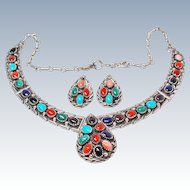 John Delvin Suite Navajo Gemstone Sterling Silver Necklace Earring c1970s