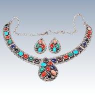 John Delvin Suite Navajo Gemstone Sterling Silver Necklace Earring c1970s