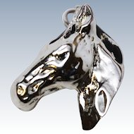 Signed Jezlaine 3 D Sterling Silver Horse Head Charm c1980s