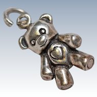 Sterling Silver 3D Teddy Bear Charms c1970s