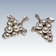 Signed Mexican Sterling Silver Grape Cluster Screw Back Earrings c1940