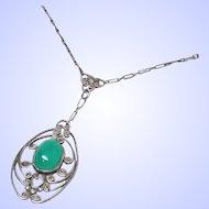 La Belle Epoque Chrysoprase Sterling Silver Filigree Lavalier Necklace c1900