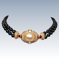 Ciner Couture 18K Gold Plate Foiled Pave Crystals Simulated Pearls Onyx Glass Necklace c1950s