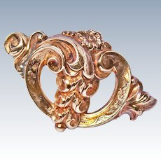 18th Century Rococo Repousse 15K Gold Pendant Brooch Pin Signed