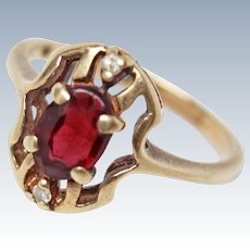 Victorian 10K Gold Garnet Diamond Ring Size 6.5 c1880