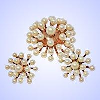 Suite Dimensional Faux Pearl Vermeil Sterling Silver Pendant Brooch Screwback Earrings c1930