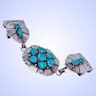 Sleeping Beauty Turquoise 3 Piece Buckle Signed Navajo Don Chee c1977