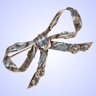 Classic Collectable  Hobé Sterling Silver Floral Bow Brooch Pin c1940s