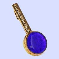 M.Schacke Denmark Cobalt Blue Basse-taille Enamel Mixed Metal Banjo Brooch Pin c1987