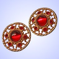 Big Bold Egyptian  Etruscan Revival Clip Earrings Ruby Glass Cabochons Rhinestones c1950s