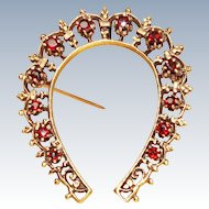 Rare Lucky Horseshoe Garnet 14K Gold Brooch Pin c1900