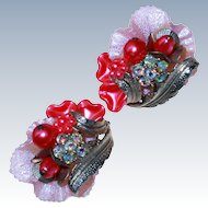 Valentines Floral Clip Earrings c1950s