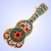 Micro Mosaic Floral Guitar Brooch Pin c1950