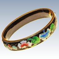 10K Rose Gold Cloisonne Floral Hinged Bracelet c1930s