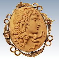X Large Early Victorian High Relief Medusa Lava Cameo 12K Gold  c1850