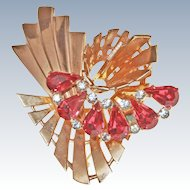 Retro Modern 10K Rose Gold Asymmetric Ruby Clear Pastes Brooch Pin c1940