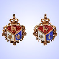 RARE  Early Coro Heraldic Shield Screw Back Gold Tone Earrings c1920s
