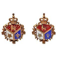 RARE  Early Coro Heraldic Shield Screw Back Gold Tone Earrings c1920s