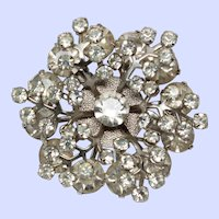 Tiered Dimensional Snowflake Brooch Pin Silver Tone c1950s