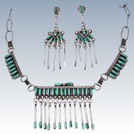 Suite Zuni Needlepoint Turquoise Sterling Silver Necklace Post Earrings c1950s