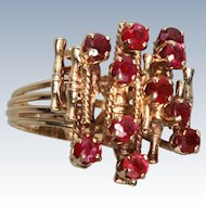 Modernist Natural Ruby Cluster 585 14K Gold Ring Size 7.5 c1975