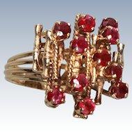 Modernist Natural Ruby Cluster 585 14K Gold Ring Size 7.5 c1975