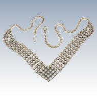 Art Deco White On White Rhinestone Rhodium Plate Necklace c1930s