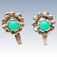 Floral Turquoise Sterling Silver Screw Back Earrings c1920s