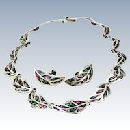 Mexican Suite Abalone Sterling Silver Necklace Screw Back Earrings c1940s