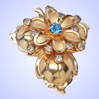 Retro Modern Floral Gold Tone Rhinestone Brooch Pendant Pin c1960