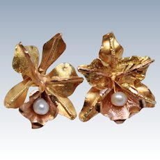 18K Yellow & Rose Gold Orchid Cultured Pearl Post Earrings c1960s