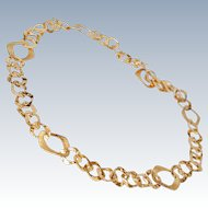 "Early Michael Anthony Vermeil 23"" Sterling Silver Hammered & Matte Link Necklace c1977-87"