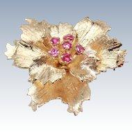 14K Gold & Ruby Pansy Brooch Pin Pendant Binder Bros mid century