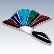 Alicia of Taxco Modernist Multi-Gem 950 Fine Sterling Brooch Pin Mexico c1980s