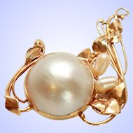Magnificent Cultured Mabe & Baroque Pearl 14K Gold Art Nouveau Brooch Pin c1910s