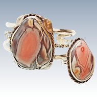 X wide Old Pawn Native American Pink Pastelite Plume Agate and Sterling Silver Cuff  Ring c1940's.