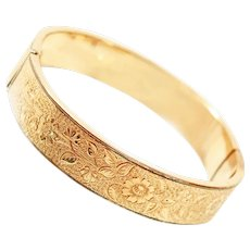 Substantial Bastian Bros. Late Victorian 15k Rolled Gold Engraved Hinged Bangle Bracelet c1890s
